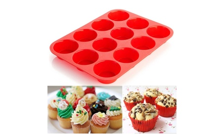 12 Cup Silicone Muffin Cupcake Pan 2 Pack Great Quality Easy Use 532d57bb-a4da-438e-b6f9-343003183b8a