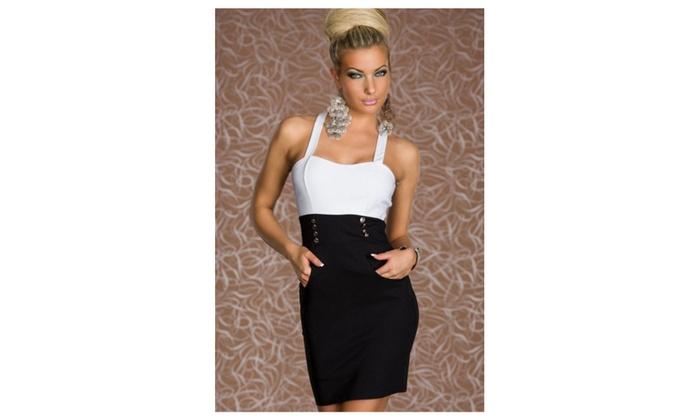 Women's Black White Urban Womens Shoulder-strap Fashion Dress