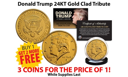 Donald Trump 45th President 24K Gold-Plated Tribute Coin (3-Pack)