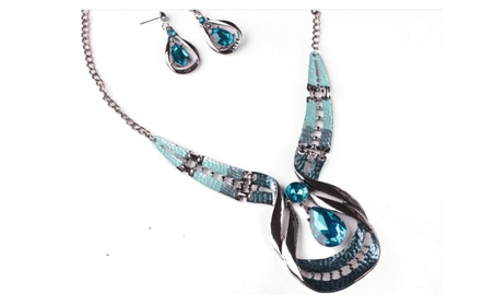 Water Drop Blue Rhinestone Alloy Maxi Necklaces For Women 63cbac02-784a-4a9c-abd3-0892c1348f1b