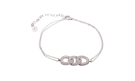 Sterling Silver Pave CZ Open Oval Links Double Layered Bracelet 5a1eaa42-9cf1-40a4-9f92-0d405aa0069d