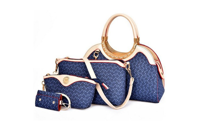 Women's Printed Inclined Shoulder Four-piece Bags