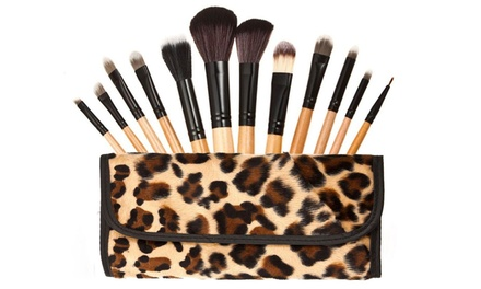 Professional Cosmetic Brushes Set With Leopard Design Case (12 Piece)