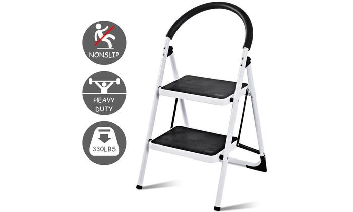 Stupendous 2 Step Ladder Folding Stool Heavy Duty 330Lbs Capacity Industrial Lightweight Ibusinesslaw Wood Chair Design Ideas Ibusinesslaworg