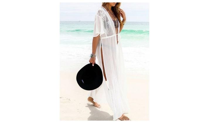 White Lace Chiffon Cover Up Beach Dress - White / Free Size