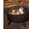 Pure Garden 32 inch Round Crossweave Fire Pit with Cover