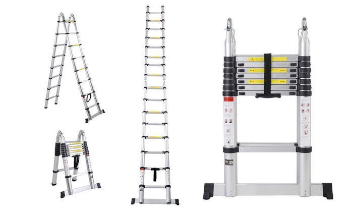 Aluminum Extension Ladder Telescoping Multi Purpose 16.5FT Tall EN131