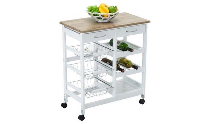 Kitchen Island Trolley 4 family kitchen island cart trolley portable rolling storage