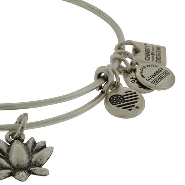 Alex And Ani Lotus Blossom Charm Bangle Bracelet Rafaelian Silver