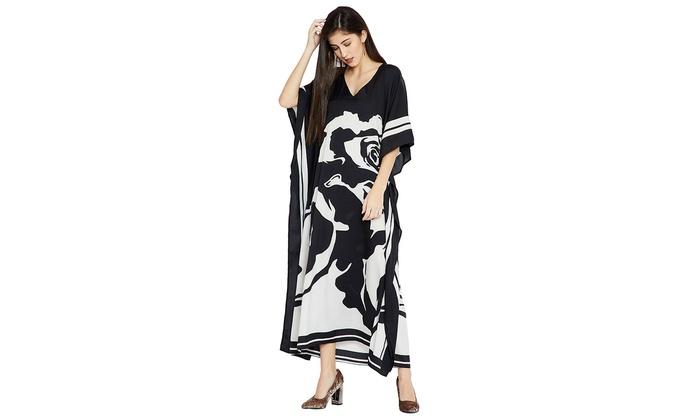 10c65c3aaf2 Black Caftans Rose Printed Women Coverup Plus Size Ladies Kaftan Long Maxi  Dress