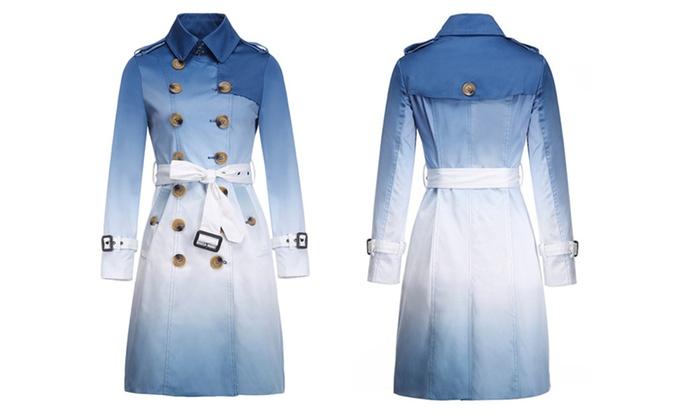 Shefetch Women's Fashion Notchel Lapel Belt Long Trench coat