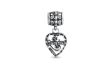 Bling Jewelry Grandma Vintage Style Heart Silver Dangle Bead e53aa8f4-0fab-41ca-975d-c6ff42f6b362