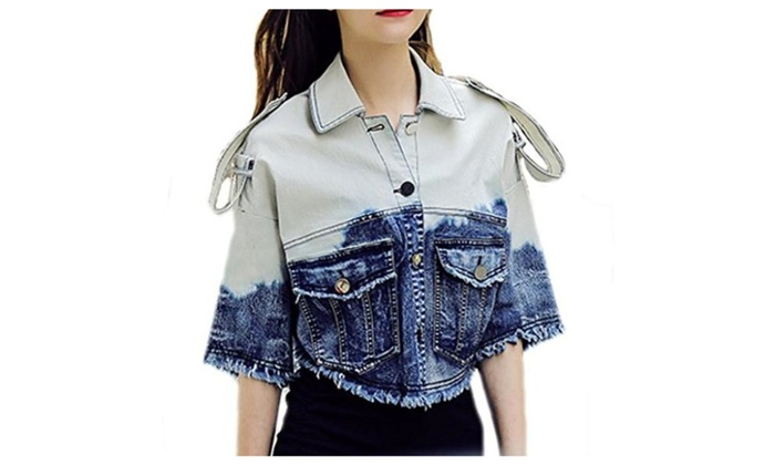 Women Bats sleeve Denim Short Jacket