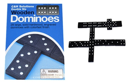 Double 6 Dominoes Black With White Dots Wooden Dominoes 28 PCS 3e281ede-3636-4526-937a-1dc1cfd483cb