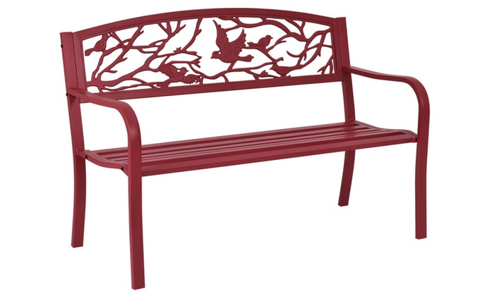 Patio Bench Park Yard Outdoor Furniture Cast Iron Porch Chair Red