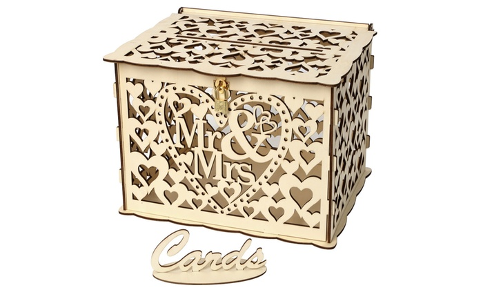 Wedding Card Box With Lock Diy Money Wooden Gift Boxes For Birthday Party Groupon
