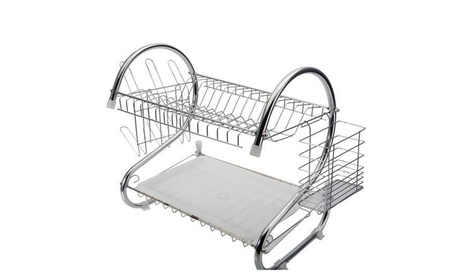 2 Tiers Kitchen Dish Cup Drying Rack Drainer Dryer Tray Cutlery Holder ea21f829-cc1d-49fd-8562-d2199ed661e5