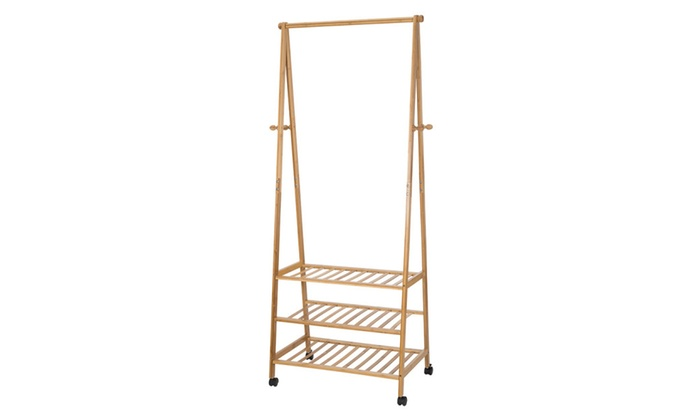 Ollieroo Bamboo Garment Coat Rack With 4 Coat Hooks 3Tier Shoe Shelves ...