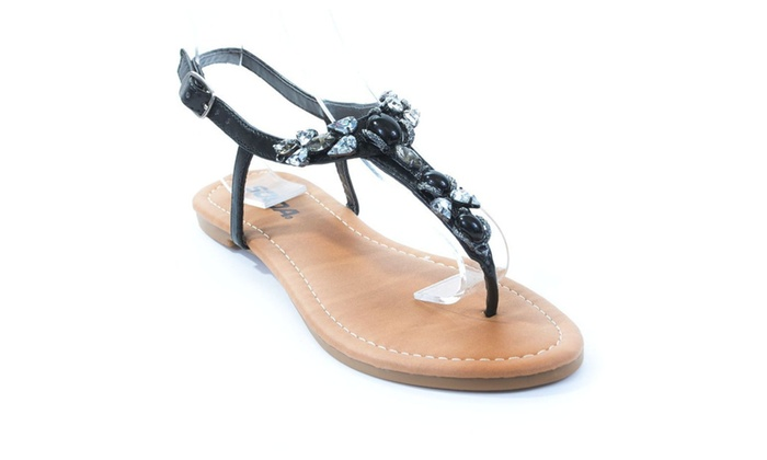 Soda Yatin-S Embellished Thong Flat Sandal Black - 6