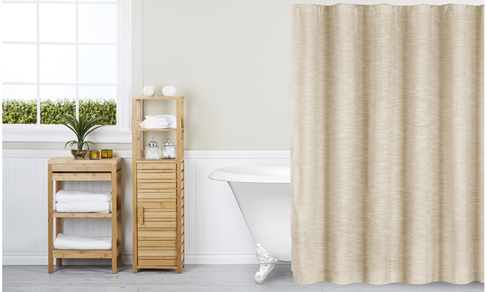 Lynwood Home Maison Metallic Linen Shower Curtain | Groupon