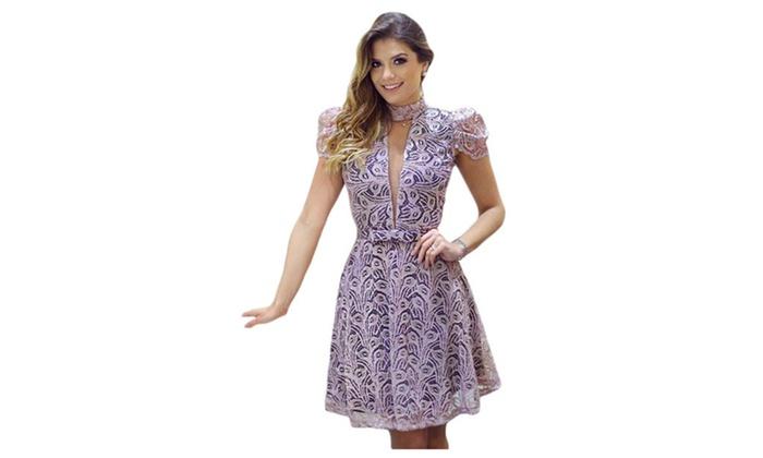 Women's Purple Lace Overlay High Neck Skater Dress