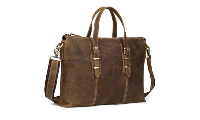 Men Vintage Leather Briefcase Shoulder Handbag
