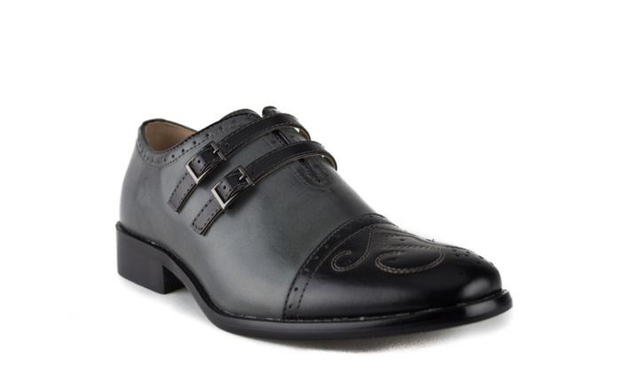 Men's Leather Lined Double Monk Strap Cap Toe Dress Shoes 95731