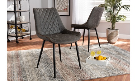 Loire and Faux Leather Upholstered 2-Piece Dining Chair Set