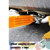 Zone Tech 3 Tons Car Tow Cable Towing Strap Rope with Hooks Heavy Duty