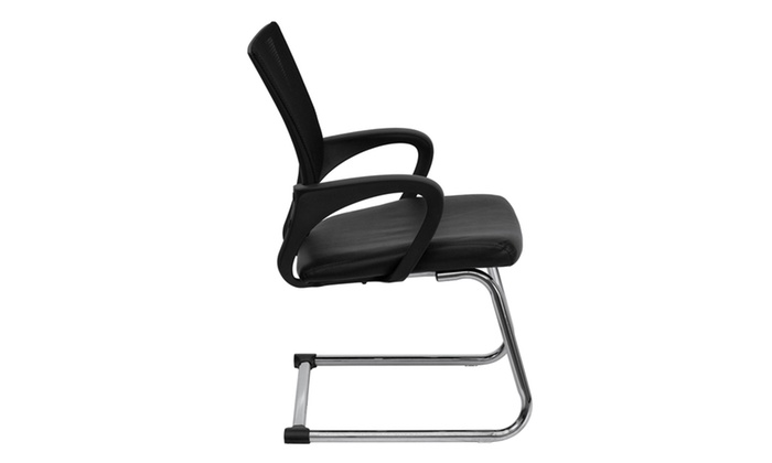 Black Leather Office Side Chair With Mesh Back And