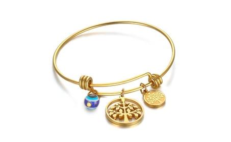 Stainless Steel Tree of Life Charm Bangle Bracelet, Gold c0372034-f92e-4a2d-b11e-1b02e16b249b