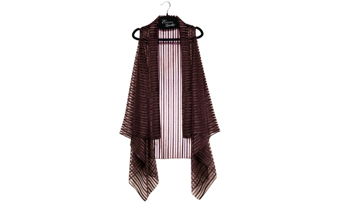 Elegance By Lavello Pink Brown Or Silver Sheer Striped Convertible Chiffon Vest