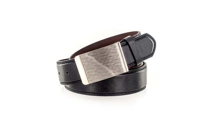Faddism Men's Genuine Leather Belt Textured Look Buckle