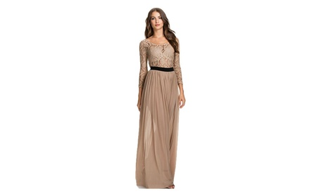 Women's Transparent Long Sleeve O-neck Lace Maxi Dress Beige 6ba57fe3-a3d7-471a-b076-60283540e586