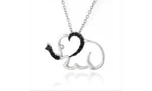 Black Diamond Accent Elephant Necklace