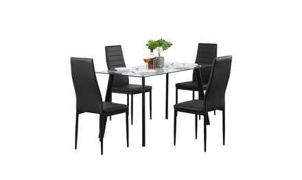 5 Pieces Modern Dining Table Set for 4 Dining Table with 4 PU Leather Chairs