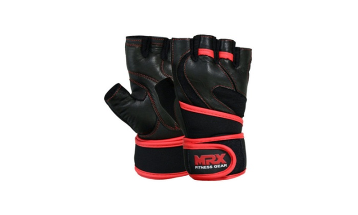 Leather Weight Lifting Gloves Long Wrist Wrap Padded Strength