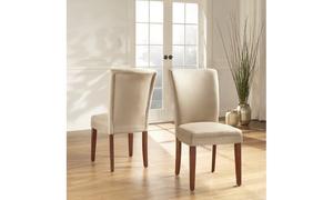 Cherry Finish Peat Microfiber Parson Chair (Set of 2)
