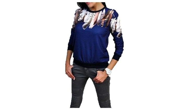 Women's Wild Tri-Color Feather Printed Pullover Hoodie Top