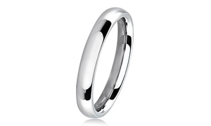Stainless Steel Domed Comfort-Fit Wedding Band Ring - 3mm Wide