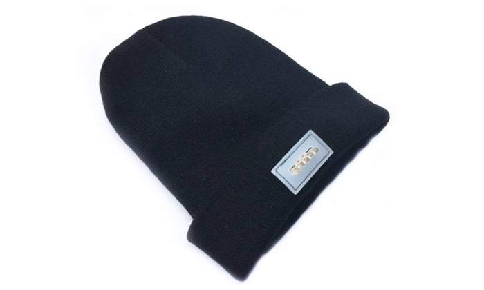 A99 Knitted Warm Winter Beanie Cap Black with Bright LED Light Unisex