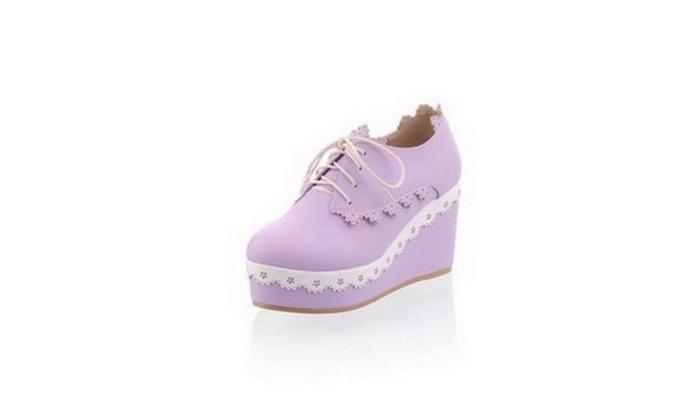 Womans Closed Round Toe High Heel   with Bandage, Purple, 8 B(M) US – Purple / 8 B(M) US