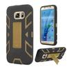 Insten Soft Hybrid Hard Case W/stand For Samsung Galaxy S7 Black/gold