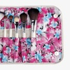 Makeup Brush Set (12-Piece) and Pink Floral Fold-Up Pouch