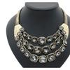 Metal Glass Bead Chain Big Choker Necklace for Women