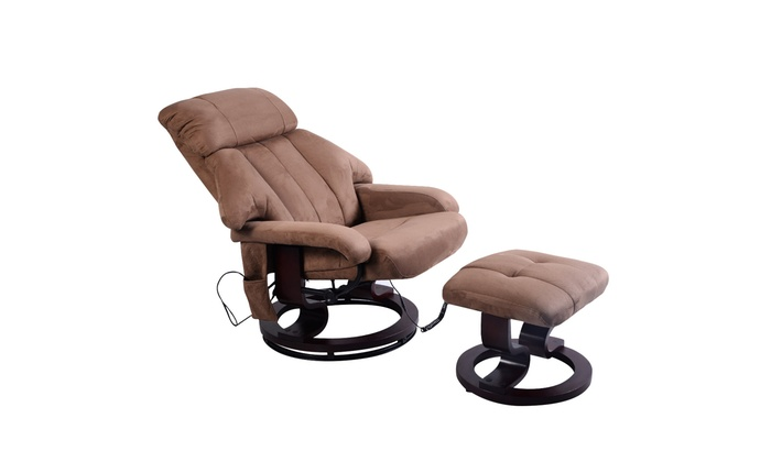 Remarkable Brown Leisure Recliner Chair Ottoman With 8 Motor Massage Ncnpc Chair Design For Home Ncnpcorg