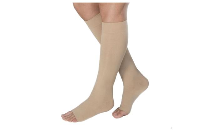 1042beb0c75 Jobst Opaque 15-20 mmHg Knee High Open Toe Petite Stockings Natural ...