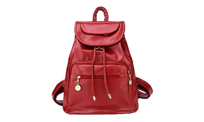 08DEC Casual PU Leather Girl School Backpack - Wine Red / Free