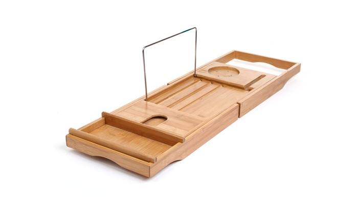 Natural Bamboo Bathtub Caddy with Extendable Sides Phone, Book ...