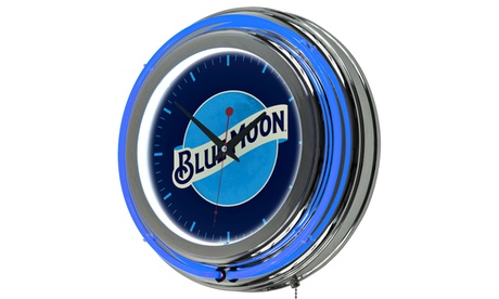 Blue Moon Chrome Double Rung Neon Clock aecbe15e-af8b-4eae-a0d7-89b35f4e9464